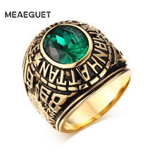 Meaeguet Retro male ring Manhattan College male ring stainless steel Gold-Color school veteran rings for men(China)