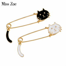 Miss Zoe Cute Cartoon Black White Cat Kitten Face Tail Metal Brooch Pins DIY Sweater Pin Badge Gift Jewelry for women girl kids(China)