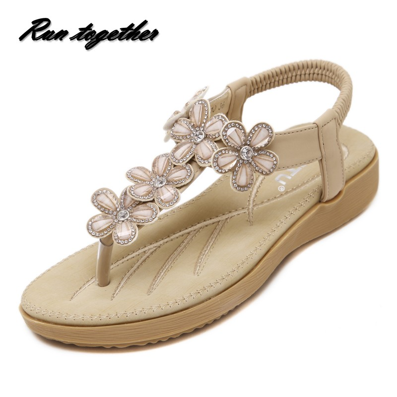 New summer women casual flat sandals shoes woman fashion rhinestone Sunflower sweet girl student beach sandals plus size 35-41<br><br>Aliexpress