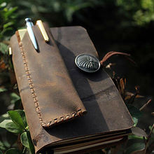 Vintage Genuine Leather Pencil Bag For Travel Diary Pen Case Cowhide Pencil Cover for Leather Notebook Free Logo