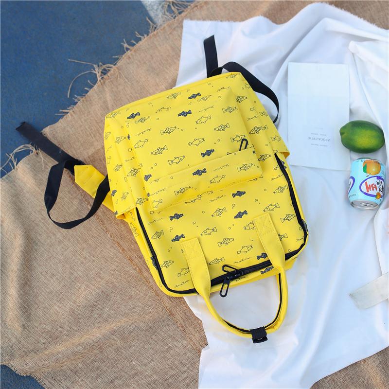 Menghuo Fish Printing Women School Bag Backpack for Teenage Girls Backpacks Female Canvas Children Schoolbag Women Bag s (13)