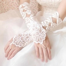 Bride gloves chic upscale lace gloves long satin hook finger wedding gloves wedding Banquet accessories FA5-13L