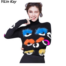 2017 high quality female infant pullover Runway Women's long sleeve High collar Fur fox eyes women sweaters and pullovers(China)