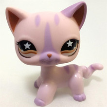 lps free shipping Pet shop Purple Striped kitty Loose Kitty Toys Child Cute FigureAction figures kids toys gift(China)