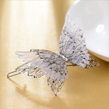 High Quality Beautiful wholesale hair jewelry 3D Butterfly Cellulose Acetate barrette for hair gray Butterfly Hairpin SA013