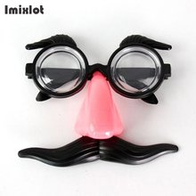 Costume Party Halloween Fake Red Nose Black Moustache Glasses Fancy Funny Glasses for Women and Men