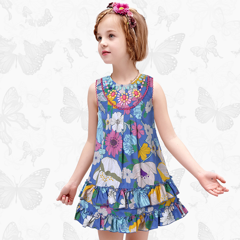 1 Girls Dress with Handmade Dragonfly 2017 Brand Princess Dress Long Sleeve Robe Fille Clothes Kids Dresses 19<br>
