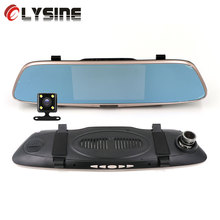 Olysine 5.0 inches Touch Screen Car DVR Camera Dual Lens Rear View Mirror DVR Auto Dash Cam Night Vision 1080P Video Recorder(China)