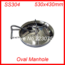 530x330mm SS304 Stainless Steel Oval Manhole Cover Manway tank door way(China)