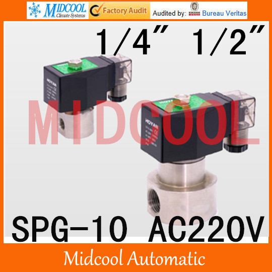 High pressure stainless steel Solenoid valve SPG-10 AC220V normal closed type<br><br>Aliexpress