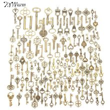 KiWarm 125Pcs Vintage Bronze Key For Pendant Necklace Bracelet Hanging Decorations DIY Handmade Crafts Gift Ornament(China)