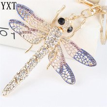 New Dragonfly Pendant Charm Rhinestone Crystal Purse Bag Keyring Key Chain Accessories Wedding Party Lover Friend Gift