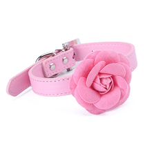 Pretty Rose Flower Small Dog Collar Necklace PU Leather Dog Cat Puppy Collar Pink Red Purple Blue Rose Neck Strap 0814(China)