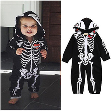 Baby Halloween Costume Skeleton Glow Romper Long Sleeve Infant Clothing Kids Jumpsuit Overalls Newborn Baby Clothes BR134