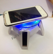 Free Shipping fashion Solar Powered Turn Table / Rotary Display with LED Light/watch cell phone dislay stand 5PCS