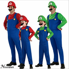 Buy Halloween Cosplay Super Mario Bros Costume Kids Adults Funny Party Wear Cute Plumber Mario Luigi Set Children Clothes for $9.80 in AliExpress store