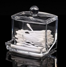 New Design Clear Acrylic Cotton Swab Q-tip Storage Holder Box Cosmetic Makeup Case(China)