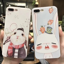 SZYHOME Phone Cases for IPhone 6 6s 7 Plus Case Piggy Rabbit Cute Discounted for IPhone7 Plus Embossment Mobile Phone Cover Capa