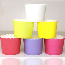 50pcs Pure Color White pink purple Green Blue Red Baker Love paper cupcake liners cases baking cup Birthday wedding party favors
