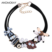 ANOMOKAY European & American Style Flower Tree Bead Choker Necklace Crystal Pendants Wood Necklace Jewelry