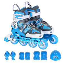 Children flat flower dual adjustable adjustable single wash shoes roller skates front wheel flash(China)