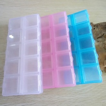 3pcs Transparent Plastic Rectangle 10 Compartment Storage Box Earring Ring Jewelry Bin Bead Case Container A113(China)