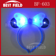 Free Shipping 12pcs/lotLED bowknot headbopper headwear mickey mouse party led Mickey Mouse Hairband kids birthday party supplies