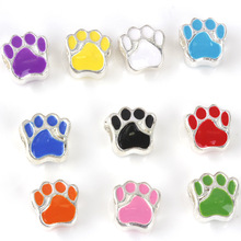 free shipping 1pc silver European 10 colors can choose dog paw big hole bead charm Fits Pandora Charm Bracelets A137