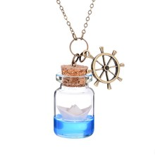Paper Boat Bottle Necklace Origami Ocean Cute Glass Vial Wishes Bottle Pendant Necklace Summer Jewelry