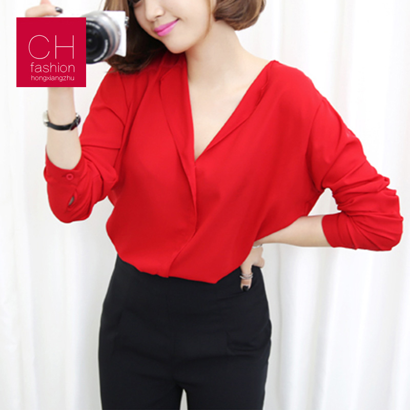 2017 blouse shirt woman casual chiffon v-neck full...