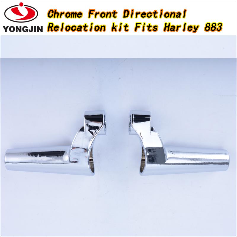 Chrome Aluminum Front Turn Signal Light Relocation Riser Kit For Harley XL 88-Up