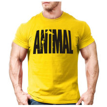 Animal print tracksuit t shirt muscle shirt Trends in 2016 fitness cotton brand clothes for men bodybuilding Tee large XXL(China)