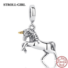Real sterling silver 925 beads Fit pandora charm Bracelets bangle animal Horse Pegasus beads Pendant DIY jewelry for women gifts(China)