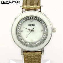 KEZZI Original Brand Watch For Women Small Size Dial With Rhinestone Waterproof Leather Wristwatches For Ladies Gift PENGNATATE