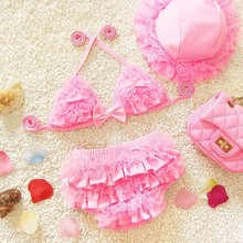 Baby Girls Swimwear Kids Swimming Bikinis Set Three Pieces Baby Girls Bathing Suit Children Lace Cute Swimsuit  with Cap