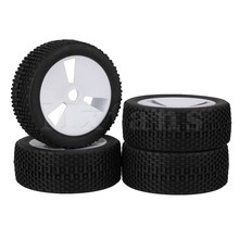 Mxfans 4 x RC1:8 Off Road Car Green 3 Holes Plastic Wheel Rim+Square Pattern Rubber Tyre(China)