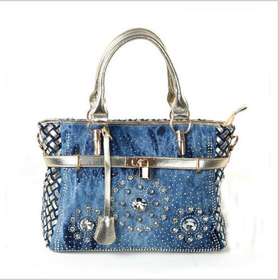 Summer  Fashion womens handbag large oxford shoulder bags patchwork jean style and crystal decoration blue bag<br>