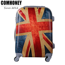 20/24 Inch Vintage Suitcase on Wheels Adults ABS British Flag Luggage with Wheels Girls Trolley Case Men and Women Travel Bag(China)