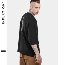 INFALTION 2017 SS Collection Oversized T Shirt Homme Clothes T-shirt Hip Hop Tshirt Streetwear Mens Loose Fit Extended T Shirts(China)