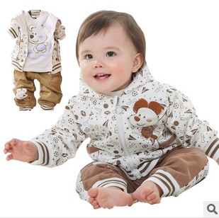 Anlencool Free Shipping Infant Cereal Trade Cotton Sportswear Suit Spring Childrens Baby Clothing Three pics 0-2 year clothing<br>