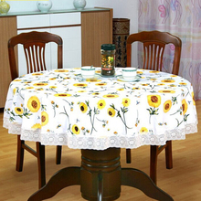 Hot Sale PVC Plus Velvet Padded Round Tablecloth Waterproof Oil-proof Disposable Pastoral Plastic Anti hot Coffee Table Tableclo