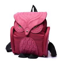 2016 Hip-Hop Style Cute Women OWL Backpack High Quality Nylon Female Packbag Purple Red Black Blue Knapsack For School Shopping(China)