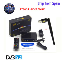 1 Year Europe Cccam Server Freesat V8 Super Satellite Receiver DVB-S2 HD Full 1080P +1pc USB WIFI Support Cccam powervu biss key(China)