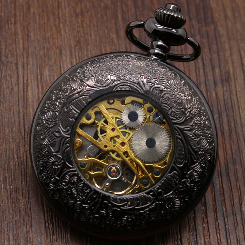 Skeleton Semi-Automatic Mechanical Necklace Pocket Watch Mens Womens Set Gifts P825WBWB<br><br>Aliexpress