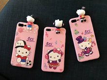 3D lying hello kitty cat case for iphone 7 7plus for iphone 6s plus soft back cover case cute cartoon doll stuff pink girl japan(China)