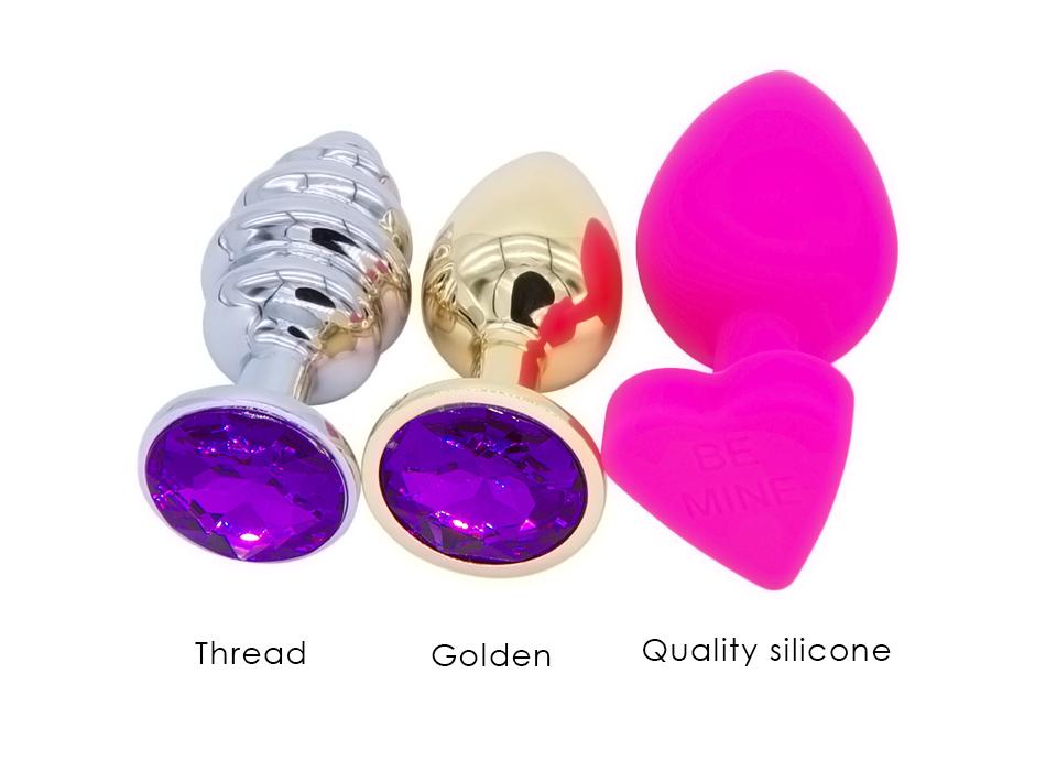 DOMI 3pcs/Set Small Medium Big Stainless Steel Metal Anal Plug Dildo Sex Toys Products Butt Plug Gay Anal Beads 6
