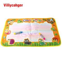 59x36cm multicolor rainbow water drawing mat with 2 pen doodle rug for painting game birthday gift for Baby kids 2822-2(China)