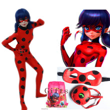 Ladybug Girl Costume Miraculous Kids Marinette Cartoon Cosplay Second Skin Halloween Party costumes Suit Free Shipping(China)