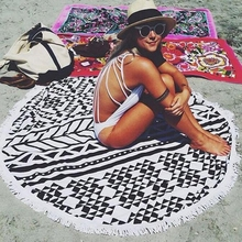 Summer Party 150cm Adult Round 3D Circle Print Large Beach Towel Heavy Duty + Tassel  Pool Shower Towel Blanket Home Textile