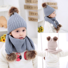 1 Set Fashion Baby Children Cute Ball Cap Keep Warm Winter Knitting wool Hats Scarf Set Infant Hat Baby Cap Photo Prop for 0-36M(China)
